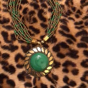 "Gorgeous ""gold/jade green"" Beaded Necklace"